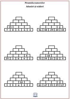 Piramida numerelor. Exerciții de adunare și scădere Math Websites, Early Math, Teaching Math, Worksheets, Crafts For Kids, Preschool, Classroom, Fun Math, School