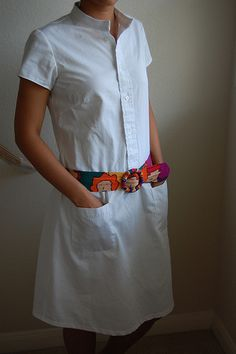 :: clevergirl.org ::: Refashion 6: Nurse Ratched Shirtdress from Two Mens Button Down Dress Shirts