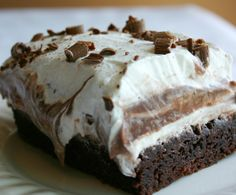 Brownie Refrigerator Cake - The BEST dessert you will ever make! When I take this dessert somewhere I automatically put the recipe in my purse because everyone wants it. 13 Desserts, Brownie Desserts, Brownie Cake, Brownie Sundae, Pudding Desserts, Brownie Cheesecake, Cake Brownies, Cheese Brownies, Brownie Birthday Cakes