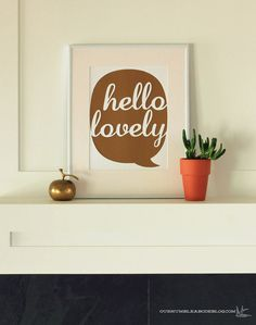 Hello Lovely Text Bubble Cut Out Art by OurHumbleAbode on Etsy, $20.00