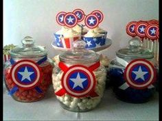 Capitan America Fiesta Tematica Decoracion Avengers Birthday, Superhero Birthday Party, 6th Birthday Parties, Captain America Party, Captain America Birthday, America Themed Party, Party Themes For Boys, Party Sweets, Baby Marvel