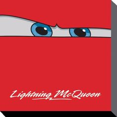 Cars - Disney - Lightning McQueen - Brand New Official Canvas Print. Size (approx): 16 inches x 16 inches (40 cm x 40 cm). Official Merchandise. FREE SHIPPING