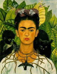 Frida Kahlo, Autoritratto con collana di spine e colibrì (1940) Mentre nelle rappresentazioni sacre la corona di spine – riconducibile all'iconografia religiosa – cinge la testa delle persone, negli autoritratti dell'artista diventa una collana che cinge il collo e provoca ferite sanguinanti. Queste ferite suscitano una sensazione di angoscia che tuttavia non trova un corrispettivo nello sguardo di Frida che continua a guardare impassibile davanti a sé.