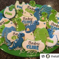 How stinking cute are these dinosaur baby shower cookies! Get your matching Dinosaur baby Shower Invitations here! >> https://www.etsy.com/listing/531024885/dinosaur-birthday-or-baby-shower?ref=shop_home_active_14