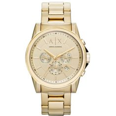 Men's Ax Armani Exchange Chronograph Bracelet Watch, 45Mm (685 BRL) ❤ liked on Polyvore featuring men's fashion, men's jewelry, men's watches, gold, mens bracelet watch, mens stainless steel watches, blue dial mens watches, mens watch bracelet and mens watches