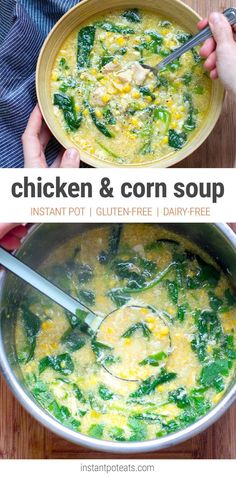 Chicken & Corn Soup With Spinach (Instant Pot, Gluten-free, Dairy-free)
