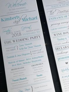Wedding Programs  Sky Blue & Silver  Custom Wedding Program