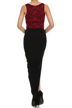 Duo fabric, wrapped, asymmetric, full length, tank dress with lace bodice and underskirt.