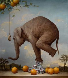 "Kevin Sloan Funny! I imagine a simile such as "" That's as unlikely to happen as an elephant standing on a house of cards. """