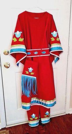 Ladies Ribbon Dress, belt, leggings, purse - pow wow regalia - sizes S to Native American Regalia, Native American Clothing, Native American Fashion, Jingle Dress, Powwow Regalia, Dress Patterns, Pattern Dress, Sewing Patterns, Ribbon Skirts