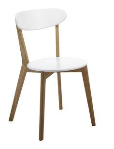 Stuhl MONTE, Gestell Eiche massiv,geölt,Sitzfläche und Rückenlehne MDF weiss