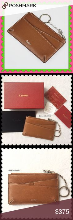 """Authentic CARTIER Goatskin Leather Card/Key Holder 100% AUTHENTIC. A rare piece, Cartier caramel goatskin leather card/key holder. Approximate measurements: 5"""" x 3"""" Like new condition (tag attached to the box) Single zip closure w/ exterior pockets. Box, dust bag, booklet, material card & certificate card included. TIMELESS & CLASSIC, don't miss it. Cartier Bags Clutches & Wristlets"""