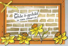 Gemaakt met de Daffodils stempel van Leane Creatief en de Dutch Doobadoo stencil Bricks. Craft Emotions heeft een sheet met Nederlandse teksten.  Verkrijgbaar bij www.multihobby.nl