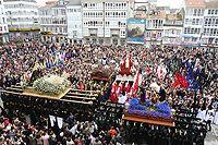El Encuentro, en la Plaza de Armas (Ferrol) en la mañana del Viernes Santo.