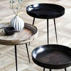 Bowl Table Serie..would love to fill with seashells and top with glass + beachy home + modern ranch + industrial + wood and metal side tables