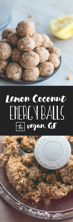 Zesty Lemon Coconut Energy Balls (raw vegan) - 5 ingredients, 1 bowl, and less than 30 minutes to make! You'll love this recipe, it's easy to make, healthy, and absolutely delicious. Great pre-workout and post-workout snack! | thehealthfulideas.com