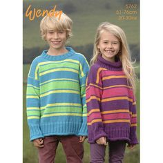 Child's Striped Sweater With Crew Or Polo Neck In Wendy Mode DK - 5762. Discover more Patterns by Wendy at LoveKnitting. The world's largest range of knitting supplies - we stock patterns, yarn, needles and books from all of your favourite brands.