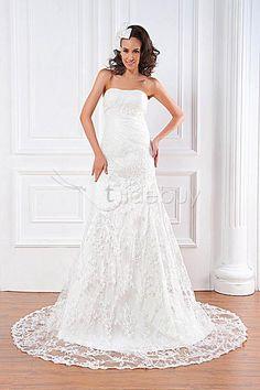 トランペット/マーメイドスウィートハートノースリーブ床まで届く長さチャペルレースウェディングドレス2012