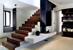 modern staircase design, space-saving modern woody staircase Modern interior staircase design ideas 2018 for luxury lovers, wood, glass, concrete and metal interior stairs designs and stair railing for high-class homes and villas Interior Staircase, Stairs Architecture, Staircase Design, Interior Architecture, Interior Design, Stair Design, Staircase Ideas, Shelf Design, Small Staircase