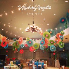 This rosette ceiling treatment will brighten up any event! Custom creations by MichaelAngelos Events.