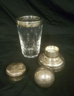 RARE-FIND-ST-LOUIS-Lead-Crystal-amp-Silver-Cocktail-Shaker-W-BALL-FREE-SHIPPING