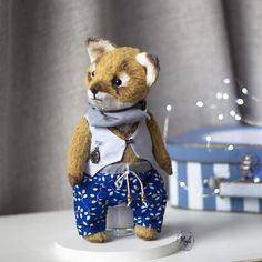 Sir Fox, handmade, art, teddy, doll Handmade Art, Fox, Teddy Bear, Dolls, Animals, Baby Dolls, Animales, Animaux, Puppet