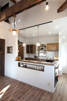 Decor - photo photo -photo - Resource Decor - photo photo - Wall Mounted Swing out Seat / Suspended Cast Iron Swing Arm Rustic Kitchen Design, Kitchen Room Design, Kitchen Layout, Home Decor Kitchen, Interior Design Kitchen, Home Kitchens, Kitchen Units, Open Plan Kitchen Dining Living, Living Room Kitchen