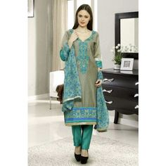 R Sethi and Sons Unstitched Embroidered Chanderi Suit