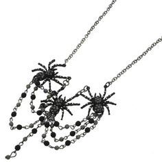 New Statement Gothic Black Crystal Bead Triple Spider Choker Necklace
