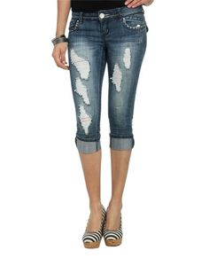 Jewel Embellished Turn Cuff Capris - Tribal Beat