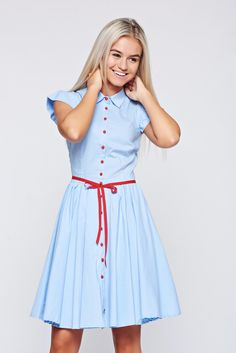 Fofy cloche lightblue dress with ruffled sleeves