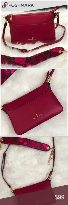 84ee751e0318 Celine Dion Crossbody Square crossbody. Removable chain and embroidered  strap. Top part of strap