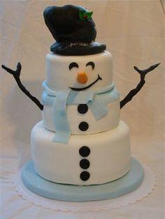 Love this! Fondant Snowman Cake :)