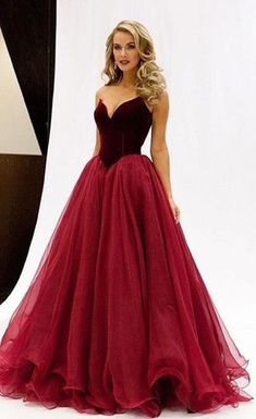 Red Sweetheart Floor-length Ball Gown Tulle Prom Dresses 2017