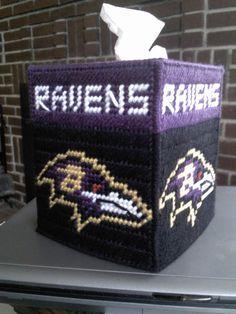Baltimore Ravens <b>tissue</b> <b>box</b> cover in <b>plastic</b> canvas PATTERN ONLY. $2 ...