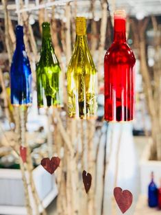 Wind Chimes Made From Glass Wine Bottles with Copper Trim Outdoor Garden Patio Decor Unique Wine Gift Home Decor Empty Wine Bottles, Glass Bottles, Mobiles, Bridal Shower Favours, Wedding Gifts For Bride, Wine Bottle Crafts, Bottle Art, Garden Gifts, Wine Gifts