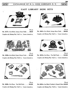 H L JUDD CO., N.Y. cast library desk sets, Catalogue No. 50, January 1913, pg. 289. owl, Native American, camel