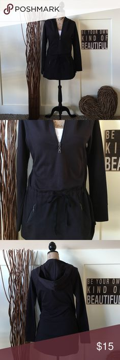 Exertek black hoodie This cute top is perfect for your next work out or your next trip to the store.  It has a zippered fron with a drawstring waist. Zippered pockets keep your money or keys secure. This can be worn with leggings or jeans.  And even has thumbholes. exertek Tops