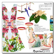 """""""Tropical prints"""" by fashion-pol ❤ liked on Polyvore featuring Karen Millen, Christian Louboutin, Louis Vuitton, NOVICA, tropicalprints, polyvoreeditorial and hottropics"""