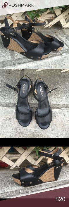 """Lucky Brand Black Leather Wedges Pre-owned Lucky Brand Black Leather Wedges in good condition. Leather upper, man made wedge. 3.75"""" heel with 1.25"""" platform. Size 7M great paired with a causal dress or jeans! Lucky Brand Shoes Wedges"""