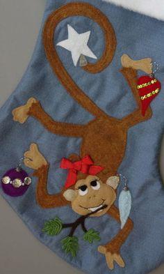 Pink Christmas Stocking Sweet Monkey Girl by HeartfeltStockings