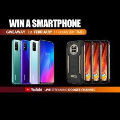 Sorteio de 6 Smartphones DOOGEE N30 ou DOOGEE S96 PRO Youtube Live, Uk Time, Smartphones, Giveaway, Prize Draw