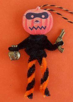 Robber Crook Bad Guy JOL Dennison seal repro chenille Halloween Tree ornament