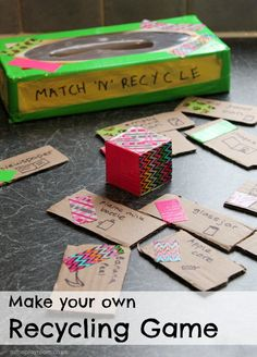 DIY cardboard recycling game Match n Recyle. A fun way to learn about recycling in time for Earth day. They find 2 items with matching patterns and have to decide which item can be trash and which is recycle. Recycling Games, Cardboard Recycling, Cardboard Crafts, Garbage Recycling, Earth Day Games, Earth Day Activities, Games For Kids, Activities For Kids, Classroom Activities
