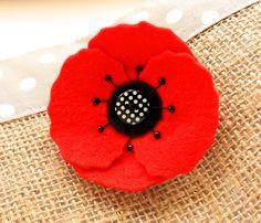 Poppy Brooch - Red Felt Poppy Flower Pin Brooch by madebylolly on Etsy https://www.etsy.com/listing/193795257/poppy-brooch-red-felt-poppy-flower-pin