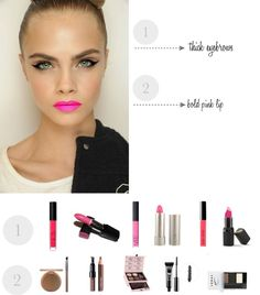 Makeup Trend --> thick eyebrows and a bold pink lip! Ewwww old lady pink, not!