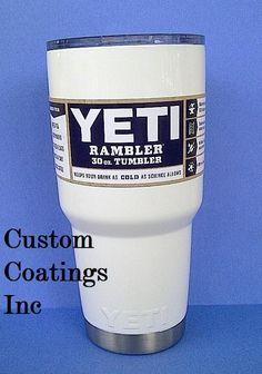 New YETI 30oz Bright Glossy White Rambler Tumbler Cup Powder Coated with Lid  #Yeti