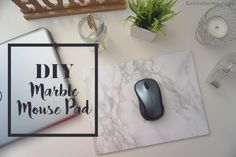 DIY Marble Mouse Pad! Super easy and cheap! Easy | Marble | Gold | Etsy | Modern | Tutorial | Decor