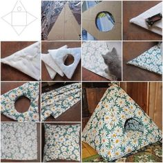 Easy DIY Cat Tent Gibbers could use a new kitty hut. Gotta get him a manly print though. Animal Projects, Animal Crafts, Pet Beds, Dog Bed, Diy Pour Chien, Diy Cat Tent, Diy Tent, Cat Teepee, Pet Hammock