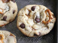 Broken Pretzel and Caramel Chocolate Chip Cookies Recipe courtesy Heather Baird, SprinkleBakes.com